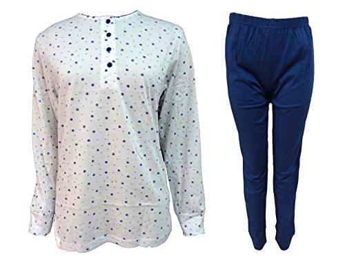 pigiama donna lungo calibrato in cotone oversize KAREL nuova collezione art. 4517 Blu