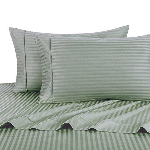 Royal Hotel Stripe Bettwäsche, Bettlaken 3pc Set, 100% Baumwolle, 300 Thread Count, Sateen Gestreift, Tiefe Tasche, Tiefe Tasche, Salbei Zwilling - Salbei Twin 30