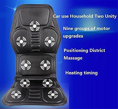 AMYMGLL Multifunktions-Elektro-Auto-Massagekissen Auto Massagegeräte 9 Gruppe Polsterheizung Leder gefaltet PU Leder hochwertige schwarze Größe 120 * 52 ** werden kann cm