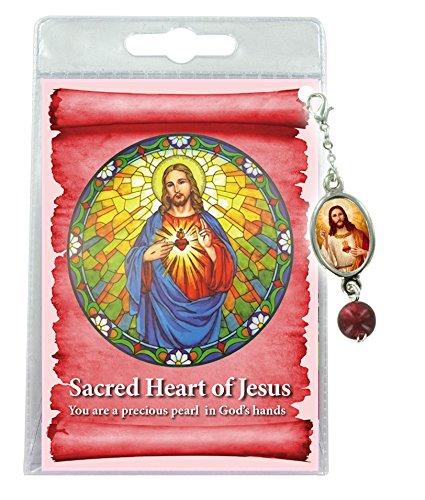 Ferrari & Arrighetti Blister mit Medaille Anhänger und Sacro Herz Jesus (englischsprachig), 3 Stück