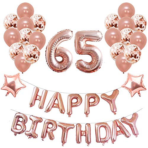 Toupons Balloons Party Decorations Set Birthday Rose Gold 65th 40Pcs Happy