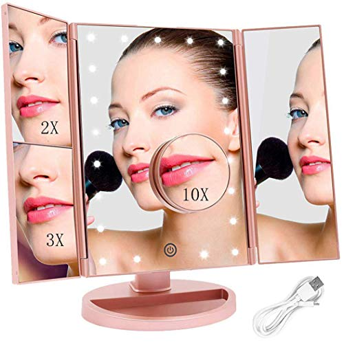 FASCINATE Espejo Maquillaje con Luz, Espejo de Mesa Tríptica Espejo con Aumentos 10x, 3X, 2X, 1x Iluminacíon...