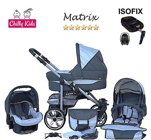 Chilly Kids Matrix II Kinderwagen Safety-Set (Autositz & ISOFIX Basis, Regenschutz, Moskitonetz, Schwenkräder) 16 Grafit & Hellgrau