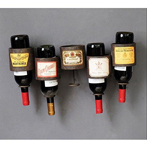 Z&HAO An Der Wand Befestigte Schmiedeeisen Weinregal Wein Und Wein Hängende Wandregal Bar Cafe Regal, 5 Flaschen
