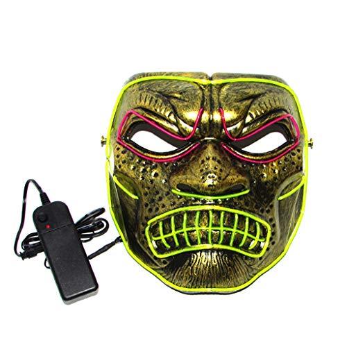 Domino Kostüm Cosplay - Spartan Warrior Halloween Glowing Mask, 3 Arten Von Flash-Modus EL Kaltes Licht Maske FüR Weihnachten Karneval KostüM Cosplay Domino