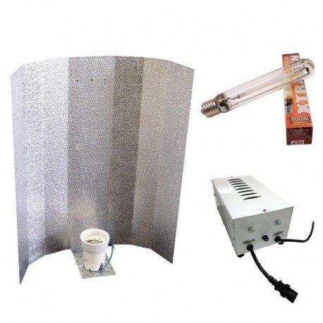 600W Beleuchtungsset: Vorschaltgerät + 50x 5 cm Hochglanz-Reflektor aus Aluminium + Lampe der Marke: Maxilumens Bloom (Pflanzenlampe)