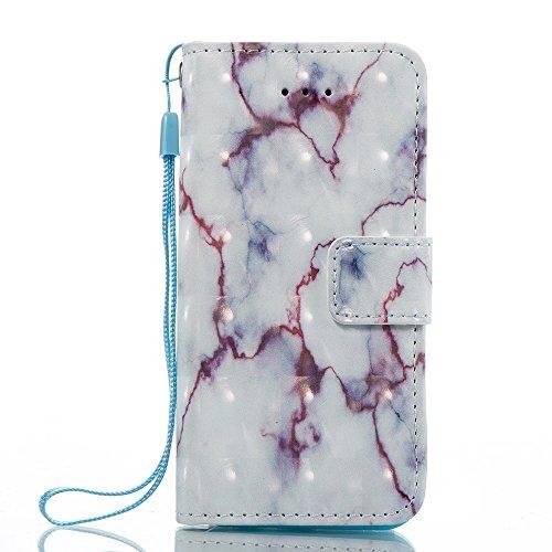 Marmor Stein Grain Texure Pattern PU Ledertasche Cover, Retro Bookstyle Flip Stand Case mit Magnetverschluss & Card Slots & Lanyard für iPhone 5S & SE ( Color : E ) D