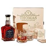 polar-effekt Holzkiste mit Jack Daniel's Single Barrel Tennessee Whiskey | 6-TLG Whisky Geschenk-Set inkl. Gravur Motiv – Initial Ornament
