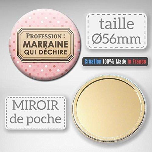 Profession MARRAINE qui déchire Miroir de poche 56mm (Idée Cadeau Baptême Communion Noël)