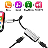 iPhone 7/7Plus Adapter,Baseus Dual Lightning Headphone Audio & Charge & Call Adapter Splitter for iPhone X / iPhone 8 /8 Plus / iPad / iPod Support for iOS 10 ~ iOS 11 and Later (L37 - Silver)