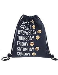 Cloud-castle mochila, Bolsa de gimnasia para deporte bandolera, Bolsa de tela (Semana negro)