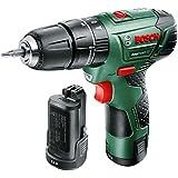Bosch  060398390E - Taladro atornillador percutor a batería EasyImpact 12 (2 baterías, 12 V, Power for all, 2,5 Ah, cargador de baterías, maletín)