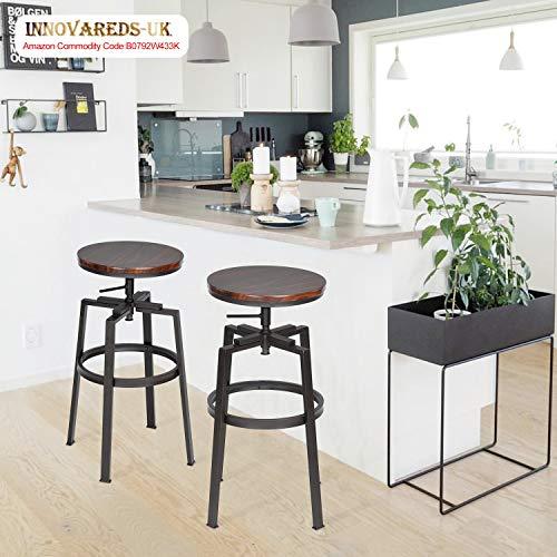Innovareds® Set von 2 Barhocker Industrial Metall Stil Vintage Holz höhenverstellbar