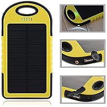 Gearmax® Panel Solar 5000mAh impermeable a prueba de choques Batería Externa Portátil / Cargador portatil con dual USB(Amarillo)