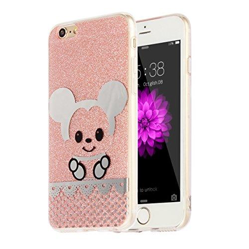 """MOONCASE iPhone 6 Plus Coque, Bling Glitter Motif Etui TPU Silicone Antichoc Housse Case pour iPhone 6 Plus / iPhone 6s Plus (5.5"""") (Chat - Or) Souris - Rose"""