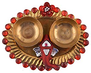 Aayam Design and Solutions Brass Roli and Chawal Tilak Plate (12.5 cm x 9.5 cm x 2 cm, Gold and Red)