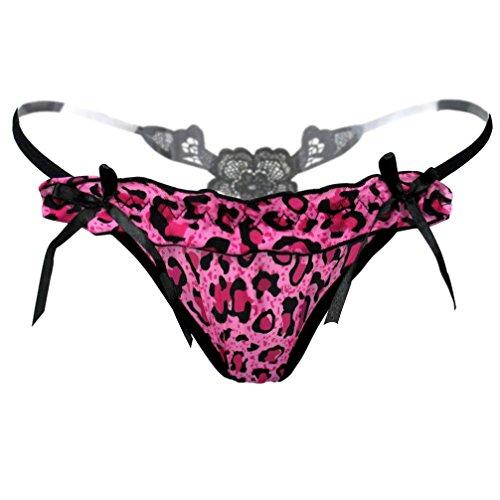 VENMO Thong Pants Frauen Leopard Spitzenhöschen Unterwäsche Wasser-lösliche Stickerei String (Hot pink) (Crotchless Leopard Thong)