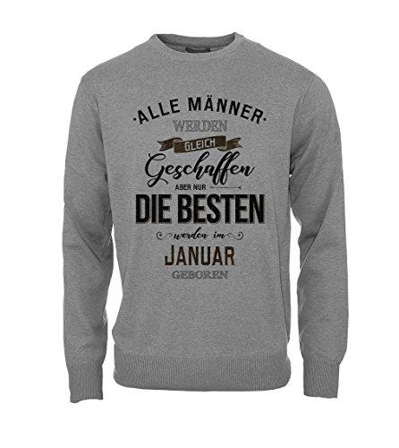 Alle Männer Werden Gleich Geschaffen Aber Nur Die Besten Werden Im Januar Geboren Geburtstagsgeschenk Herren Sweatshirt Pullover Grau XX-Large (Logo Damen Crewneck Vintage)