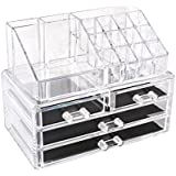 HOMFA Caja acrílica Estante de maquillajes Maquillaje Cosméticos Joyería Organizador color transparente (4 Cajones+ 16 compartimentos pequeños)