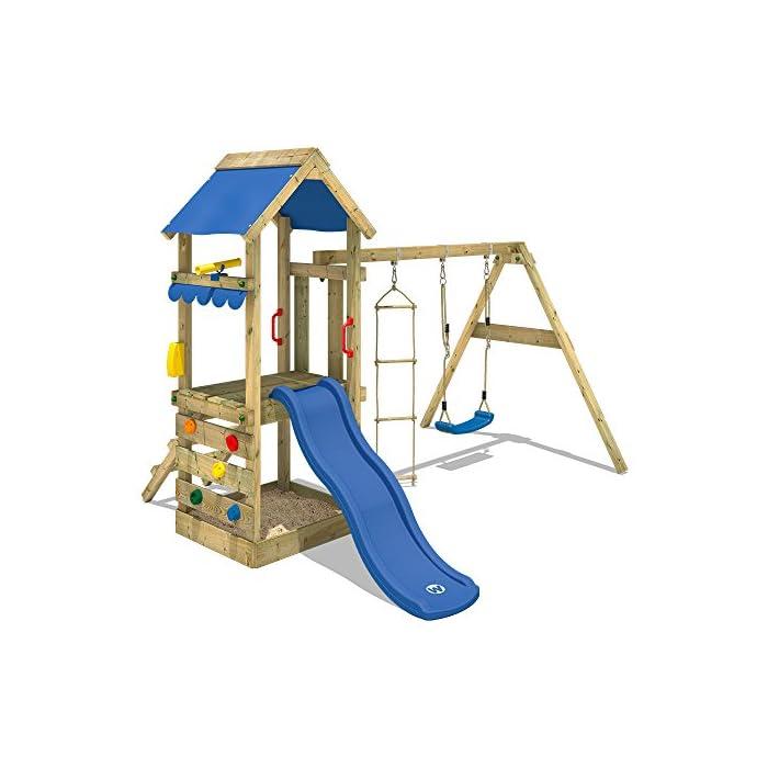 WICKEY Spielhaus FreshFlyer Spielturm Kletterturm Schaukel Rutsche Sandkasten 1