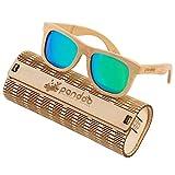 pandoo Bambus-Sonnenbrille mit Brillen-Etui, Schraubenzieher und Tasche - polarisiert & UV400 - Verspiegelte Gläser Türkis - Holz / Damen / Herren / Unisex / Sport / UV-Schutz / polarized