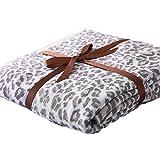 WEATLY Baumwolle Leopard Stricken Wolldecke Klimaanlage Wird durch Sofa Decke abgedeckt (Color : Gray, Size : 130cm*180cm)
