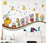 Cartoon Animal Extraíble Salón Dormitorio Nursery Kindergarten Decoración Mural Autoadhesivo Pegatinas de Pared Decal Poster