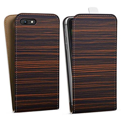 Apple iPhone X Silikon Hülle Case Schutzhülle Makassar Holz Look Downflip Tasche weiß