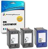 Printing Pleasure 3 Druckerpatronen für HP Deskjet 3940 F2120 F2180 F2280 F350 F370 F380 F4180 D1460 D2320 D2360 D2460 Officejet 4315 PSC 1410 | kompatibel zu HP 21XL (C9351AE) & HP 22XL (C9352AE)