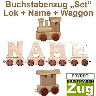 Buchstabenzug Namens-Set Lok + Anton + Endwaggon | EbyReo® Namenszug aus Holz | personalisierbar | Geschenk zur Geburt | Taufgeschenk | Geschenk zu Einschulung (Anton)