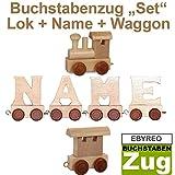 Buchstabenzug Namens-Set Lok + René + Endwaggon | EbyReo® Namenszug aus Holz | personalisierbar | Geschenk zur Geburt | Taufgeschenk | Geschenk zu Einschulung (René)