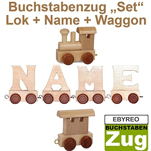 Buchstabenzug Namens-Set Lok + Can + Endwaggon | EbyReo® Namenszug aus Holz | personalisierbar | Geschenk zur Geburt | Taufgeschenk | Geschenk zu Einschulung (Can) 1