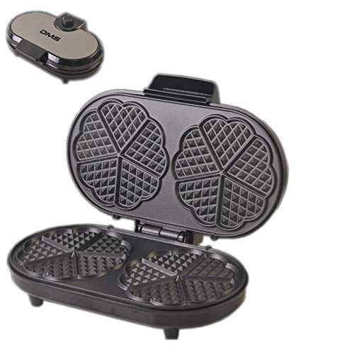 DMS® Doppel-Waffeleisen Edelstahl Waffelautomat Waffeln Waffel Maker Herzform 1200 Watt WM-2S