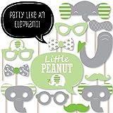 Big Dot of Happiness Green Elephant - Kit DE 20 Accesorios para Fotos de Fiesta de Cumpleaños o Baby Shower