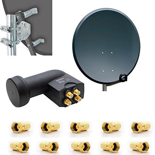 PremiumX Digital HD SAT Anlage 80cm Stahl Schüssel Spiegel Antenne Anthrazit mit PremiumX Quad LNB 4K 0,1 dB für 4 Teilnehmer inkl. 8x F-Stecker vergoldet mit Dichtring