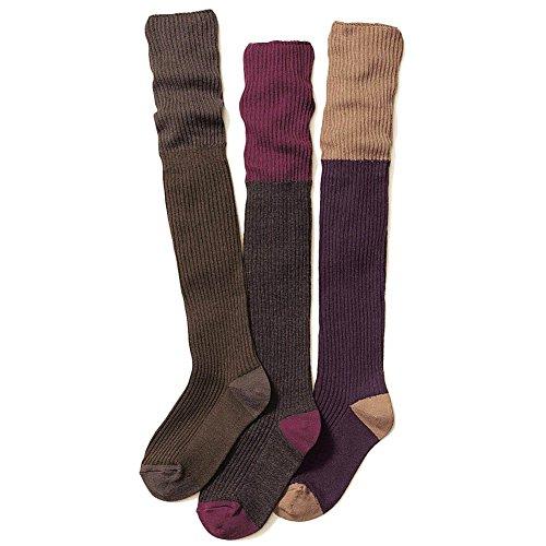 Hpory 3 Paare Kinder Mädchen Herbst Winter Baumwolle Häkeln Stricken Warm Knie hohen Socken Skin-friendly Elastische Beinlinge Stiefel Socken für 4-13 Jahre Alte Kinder