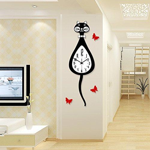 CLG-FLY moderno minimalista soggiorno orologio orologio mute nella creatività artistica personalizzata orologio cartoon cat moda oscillante grafici per parete, nero inviato tre Red Butterfly 12 pollici,12