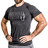 Flavio Simonetti Natural Athlet T-Shirt Herren Männer Kurzarm Shirt Optimal für Fitnessstudio, Gym & Training - Passform Slim-Fit, Rundhals & Tailliert - Farbe Schwarz, Schwarz/Schwarz, L