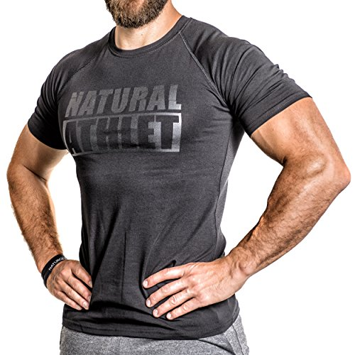 Flavio Simonetti Natural Athlet T-Shirt Herren Männer Kurzarm Shirt Optimal für Fitnessstudio, Gym & Training - Passform Slim-Fit, Rundhals & Tailliert - Farbe Schwarz, Schwarz/Schwarz, S - Enge Passform T-shirt