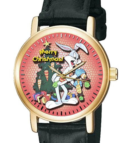 bugs-bunny-orignal-red-christmas-art-looney-tunes-collectible-unisex-wrist-watch