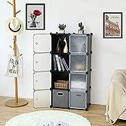 ROLAND Cube Storage Organizer, 8- Cube DIY Plastic Closet Cabinet, Modular Book Shelf Organizer Units, Storage Shelving Idea
