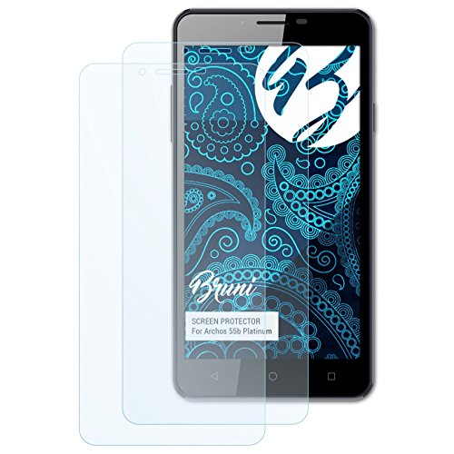 Bruni Schutzfolie für Archos 55b Platinum Folie, glasklare Displayschutzfolie (2X)
