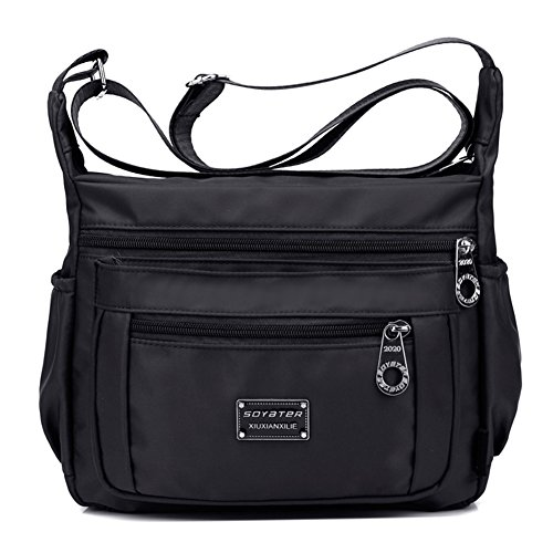 Crossbody Handbag for Women With Adjustable Shoulder Strap + Multiple Zippered and Elastic Pockets | Organize Wallet, Passport, Boarding Pass, & More | {Sable}, Water Resistant Nylon | From Soyater