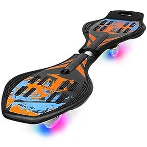 Enkeeo Caster Board Planche à roulettes avec Roulettes PU Éclairant Matériel ABS à exercer Améliorer l'équilibre,Coordination Exercices cardiovasculaires, Jusqu'à 220lbs, Et sacoche de transport inclus (Bleu)