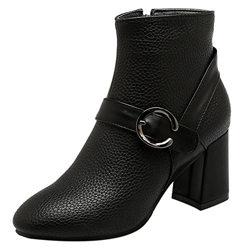 Bloc Black With Cheville COOLCEPT Bottes Zipper Femmes Elegant Talon wFXpC8