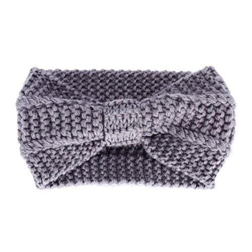 Butterme Frau Lady Mädchen Fashion Crochet Bogen Turban Strick Gestricktes Stirnband headwrap Winter Ear wärmer Haar Bande Grau
