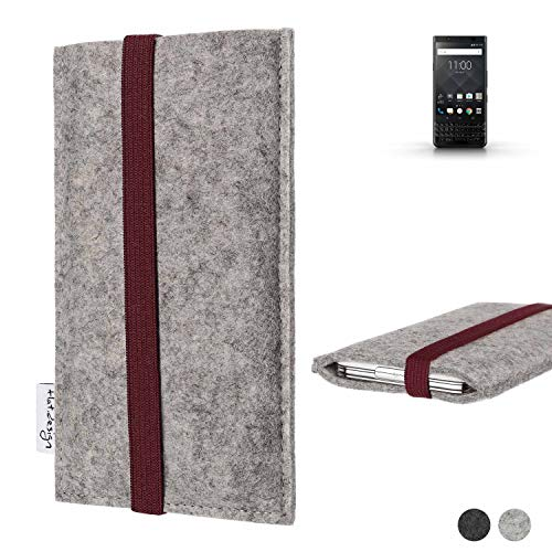 flat.design Handy Hülle Coimbra für BlackBerry KEYone Black Edition - Schutz Case Tasche Filz Made in Germany hellgrau Bordeaux