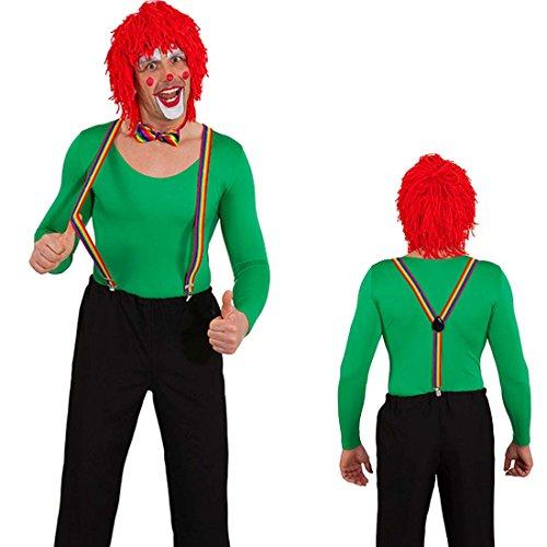 Kostüm Zubehör Der Komiker - NET TOYS Set Hosenträger und Fliege Clown Kostümzubehör Regenbogen Zirkus Querbinder Braces Clownskostüm Krawattenschleife Suspenders CSD Accessoires Komiker Kostüm Zubehör