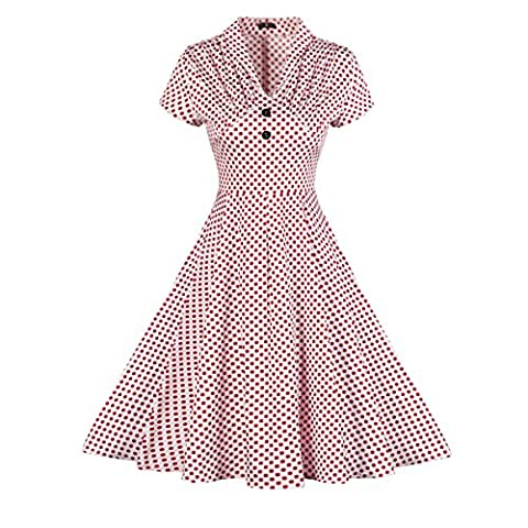 Yiye Retro Blumen Baumwolle Damen Kleider JSF-093, Rot, 44
