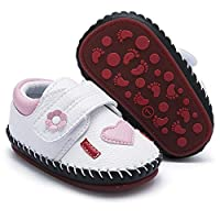 HsdsBebe Baby Boys Girls Pu Leather Hard Bottom Walking Sneakers Toddler Rubber Sole Fisrt Walkers Infant Cartoon Slippers Crib Shoes White Size: 12-18 Months Toddler